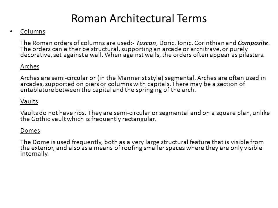 Roman Architectural Terms