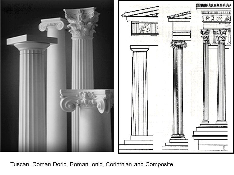 Tuscan, Roman Doric, Roman Ionic, Corinthian and Composite.
