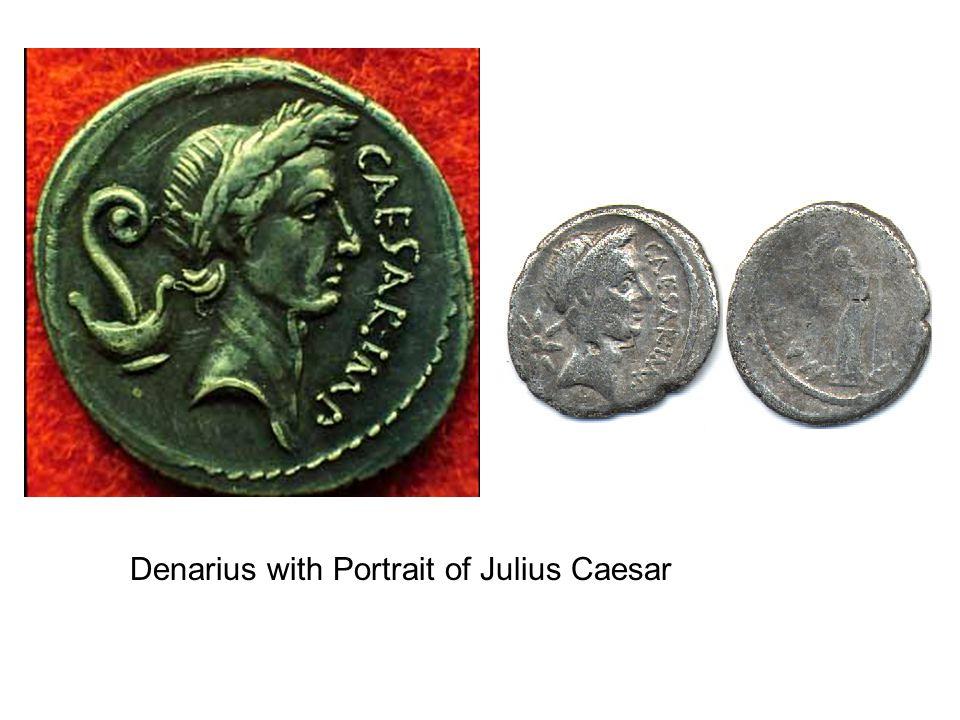 Denarius with Portrait of Julius Caesar