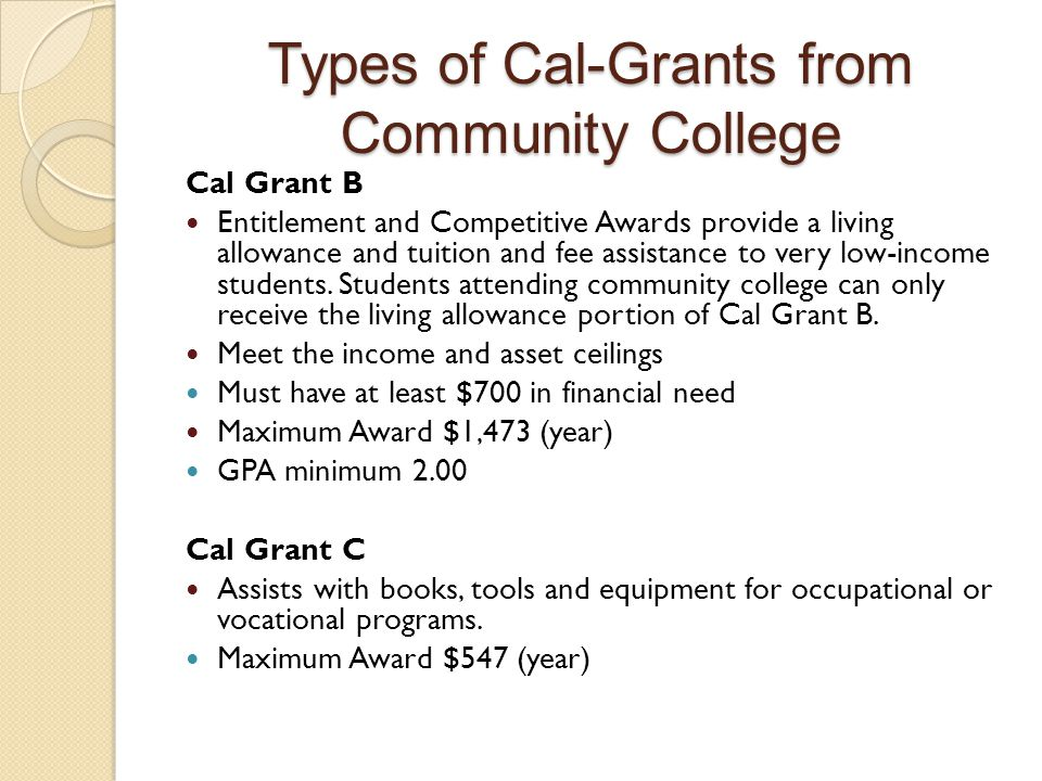 Types of Cal-Grants from Community College