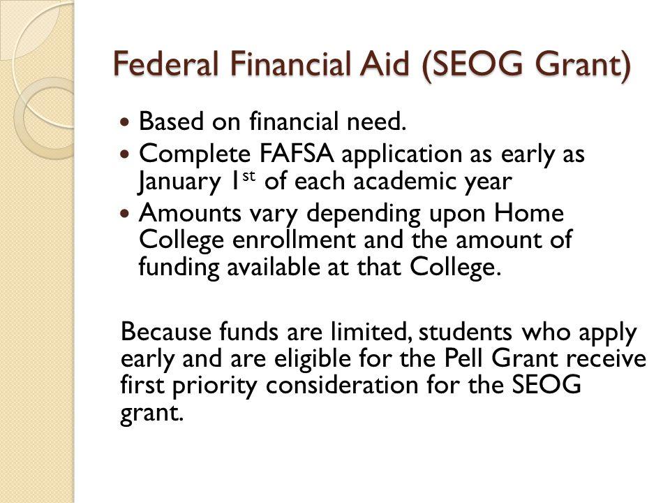 Federal Financial Aid (SEOG Grant)