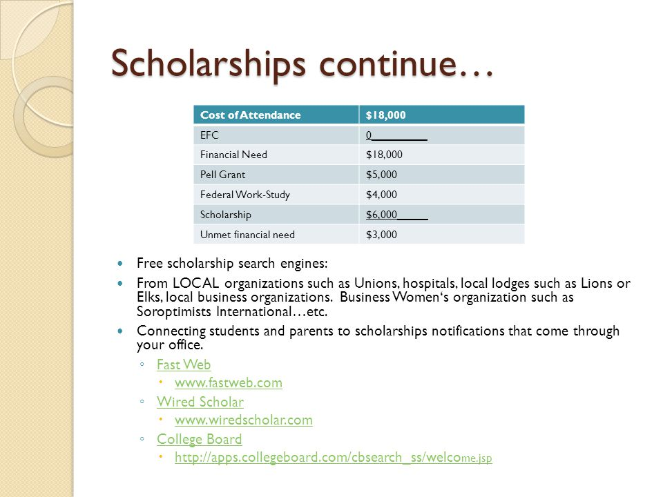 Scholarships continue…