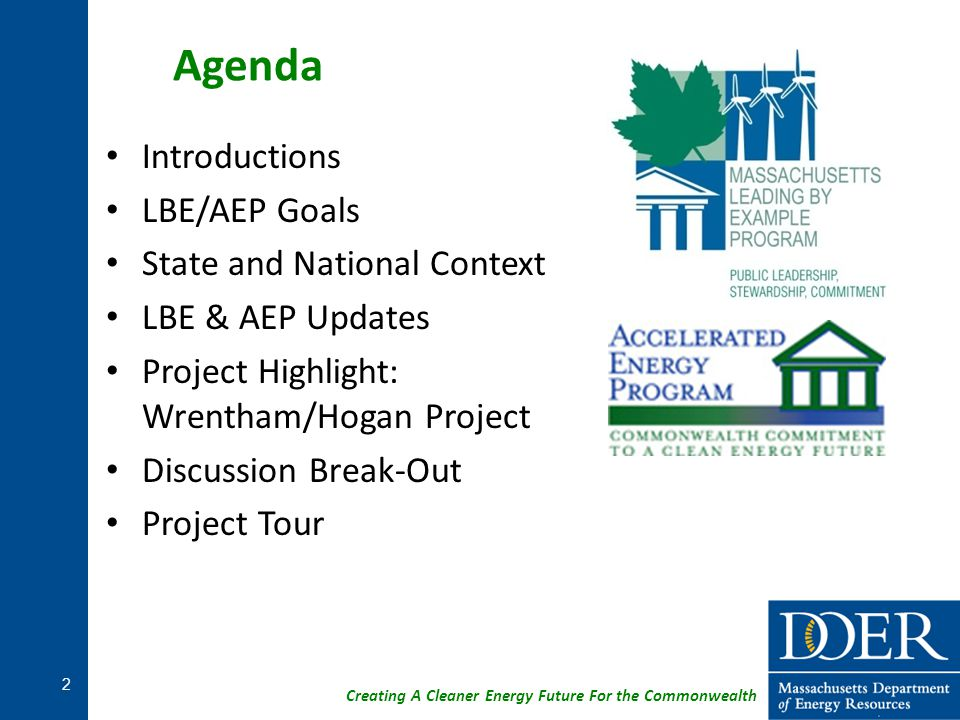 Agenda Introductions LBE/AEP Goals State and National Context