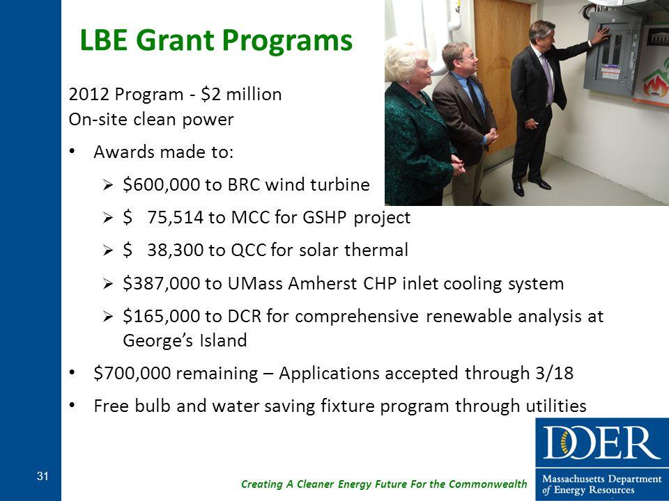 LBE Grant Programs 2012 Program - $2 million On-site clean power