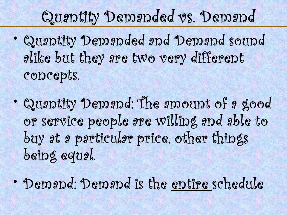 Quantity Demanded vs. Demand