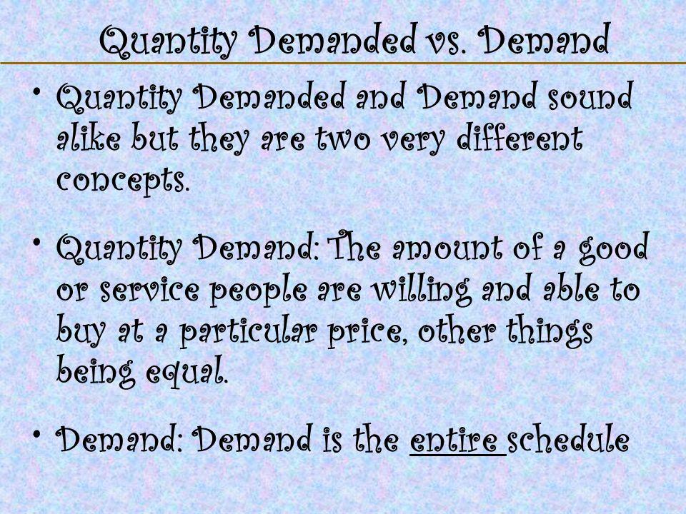 Quantity Demanded vs. Demand