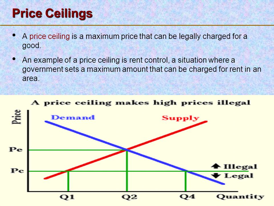 Price Ceilings A price ceiling is a maximum price that can be legally charged for a good.