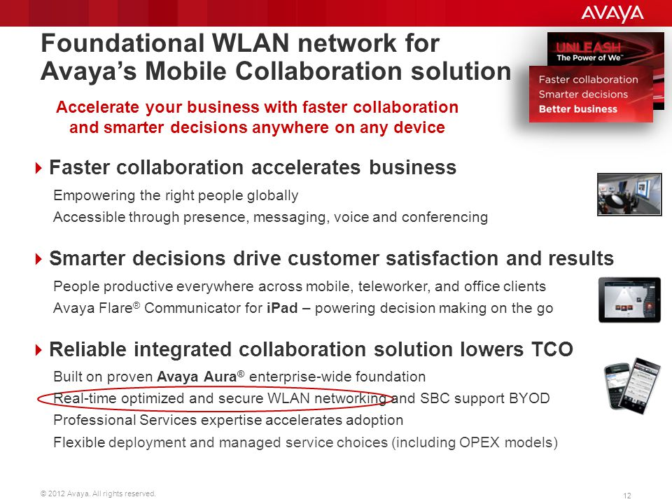 Foundational WLAN network for Avaya's Mobile Collaboration solution