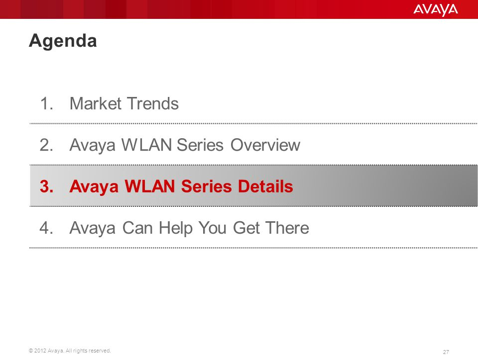 Agenda 1. Market Trends 2. Avaya WLAN Series Overview