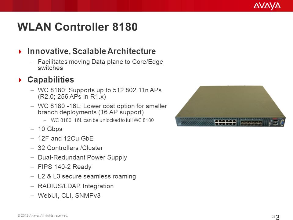 WLAN Controller 8180 Innovative, Scalable Architecture Capabilities