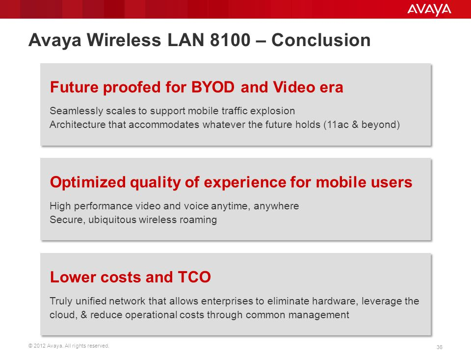 Avaya Wireless LAN 8100 – Conclusion