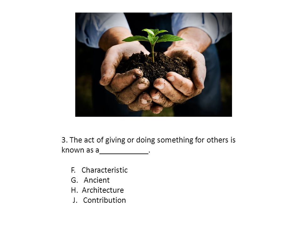 3. The act of giving or doing something for others is known as a____________.