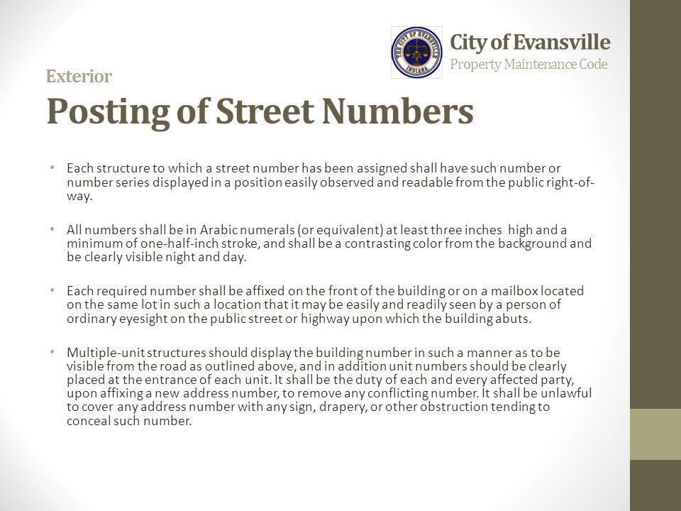 Exterior Posting of Street Numbers