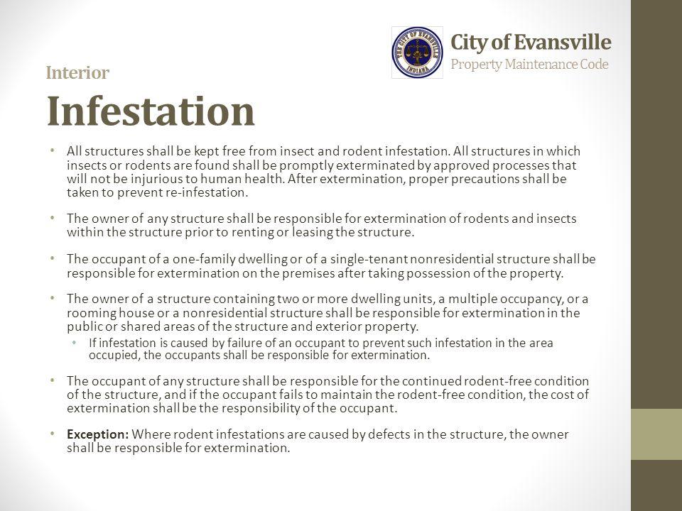 Interior Infestation City of Evansville Property Maintenance Code