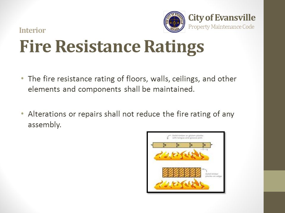 Interior Fire Resistance Ratings