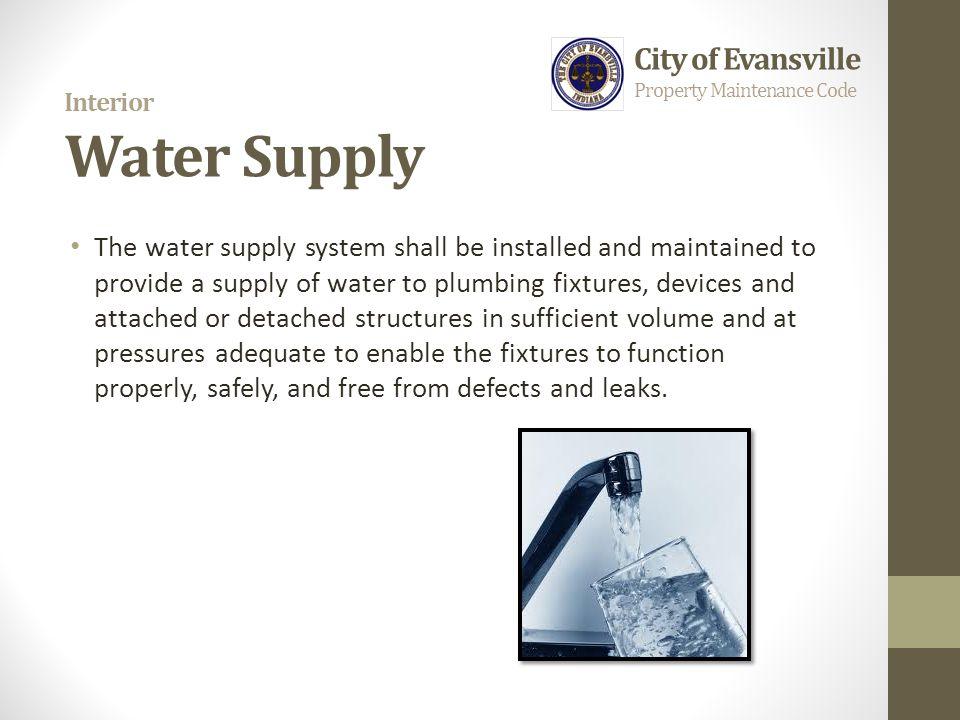 Interior Water Supply City of Evansville