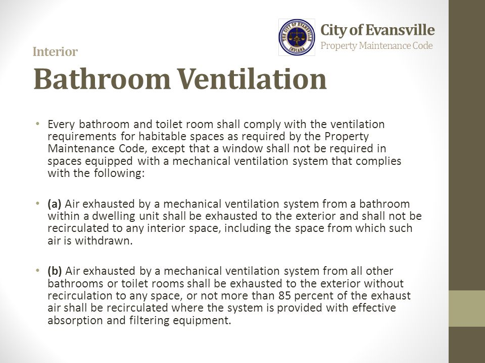 Welcome overview property maintenance code requirements for Internal bathroom ventilation