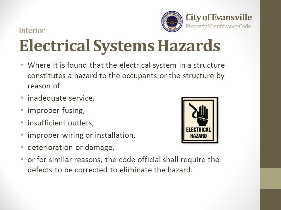 Interior Electrical Systems Hazards