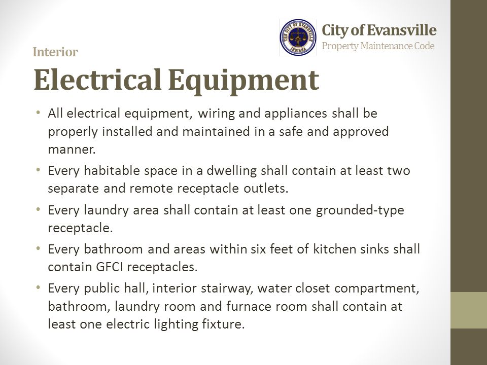 Interior Electrical Equipment