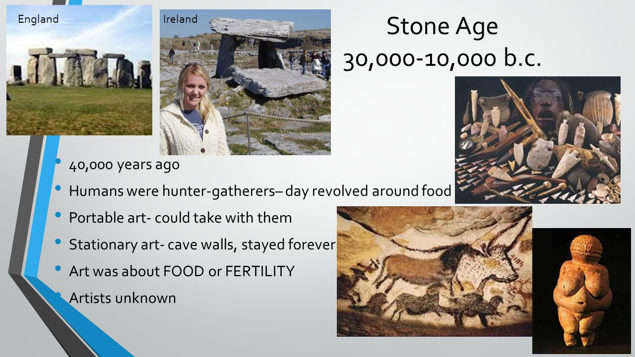 Stone Age 30,000-10,000 b.c. England. Ireland. 40,000 years ago. Humans were hunter-gatherers– day revolved around food.