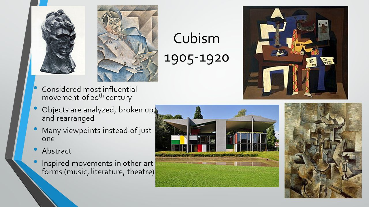 Cubism 1905-1920 Considered most influential movement of 20th century