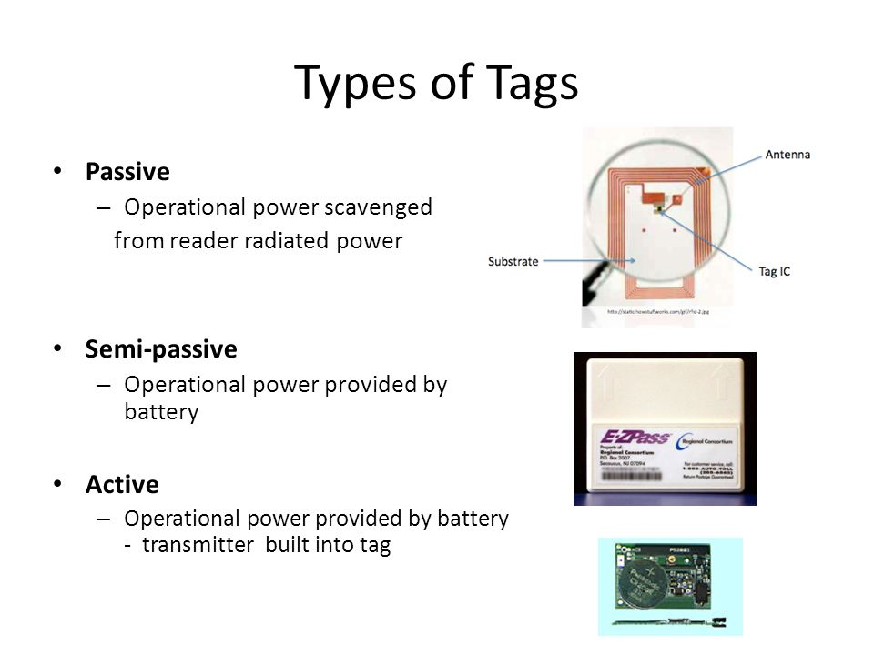 Types of Tags Passive Semi-passive Active Operational power scavenged