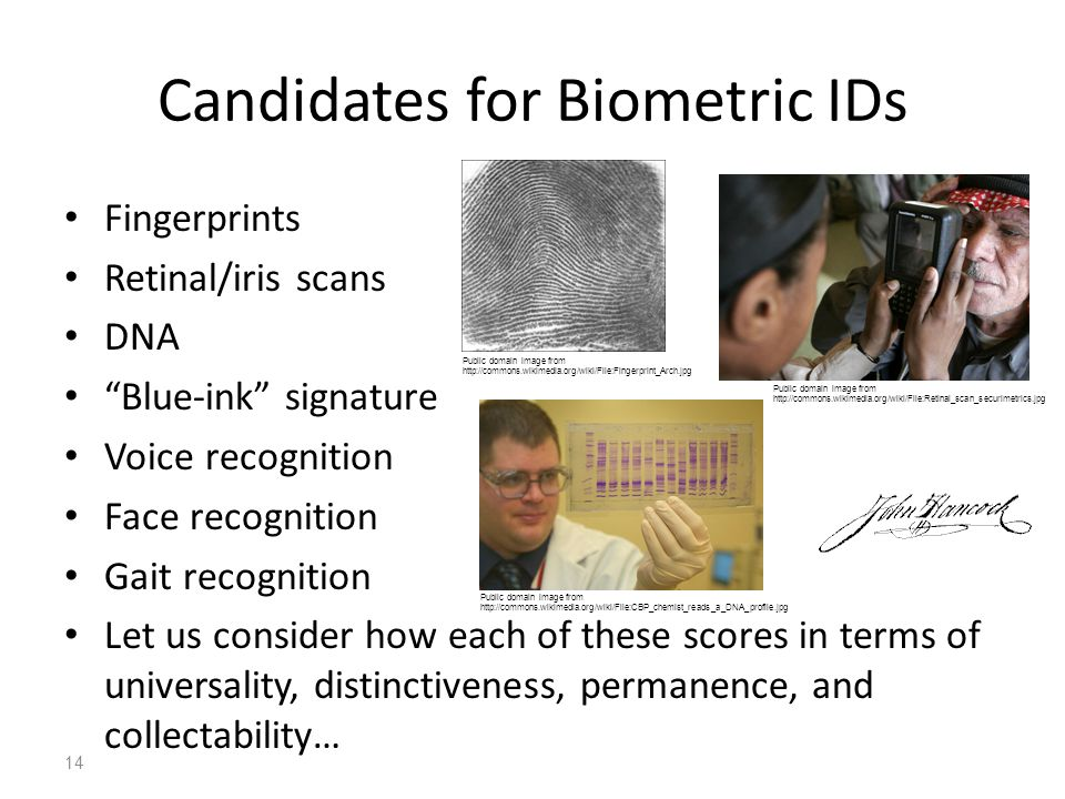 Candidates for Biometric IDs