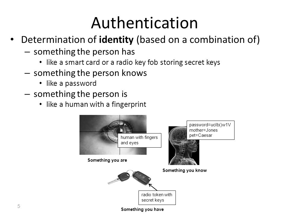 Authentication Determination of identity (based on a combination of)