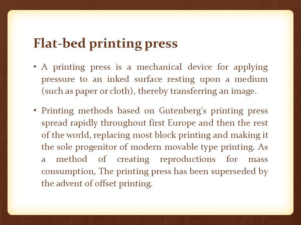 Flat-bed printing press