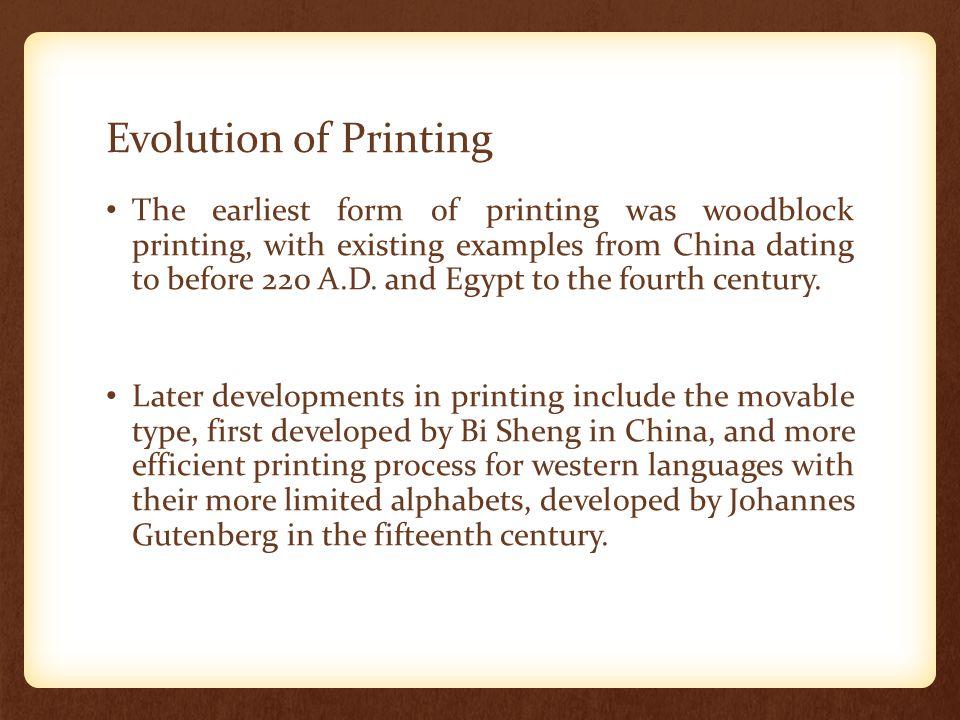 Evolution of Printing