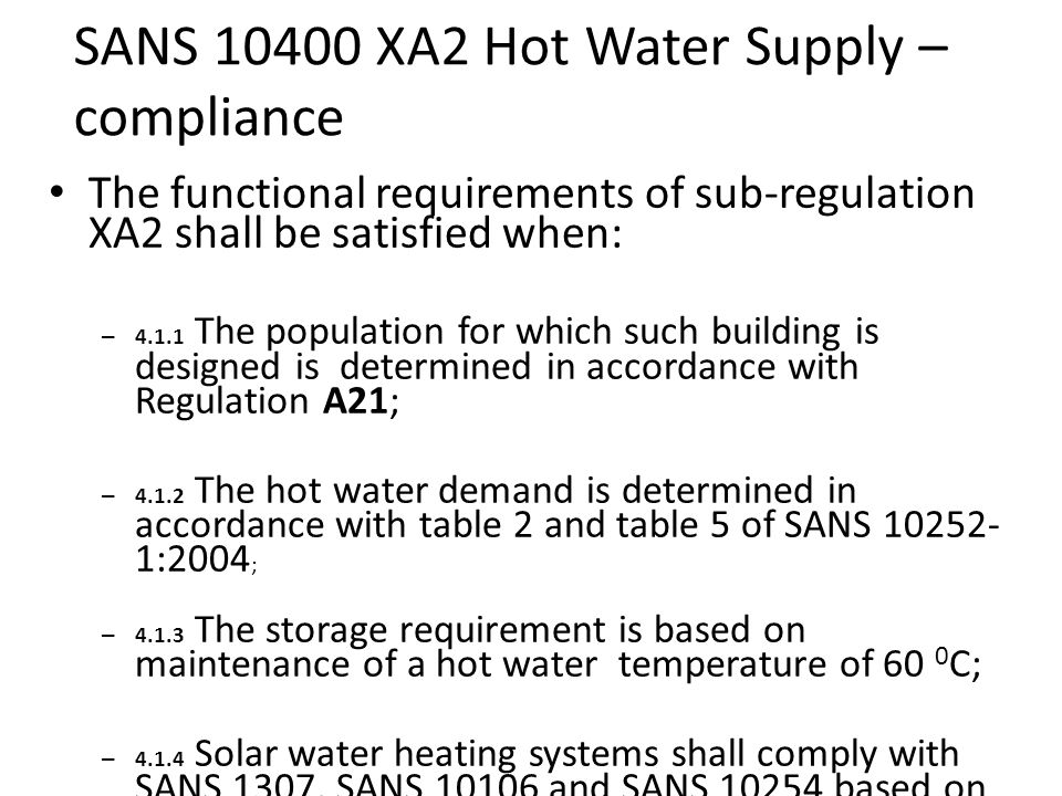 SANS 10400 XA2 Hot Water Supply – compliance