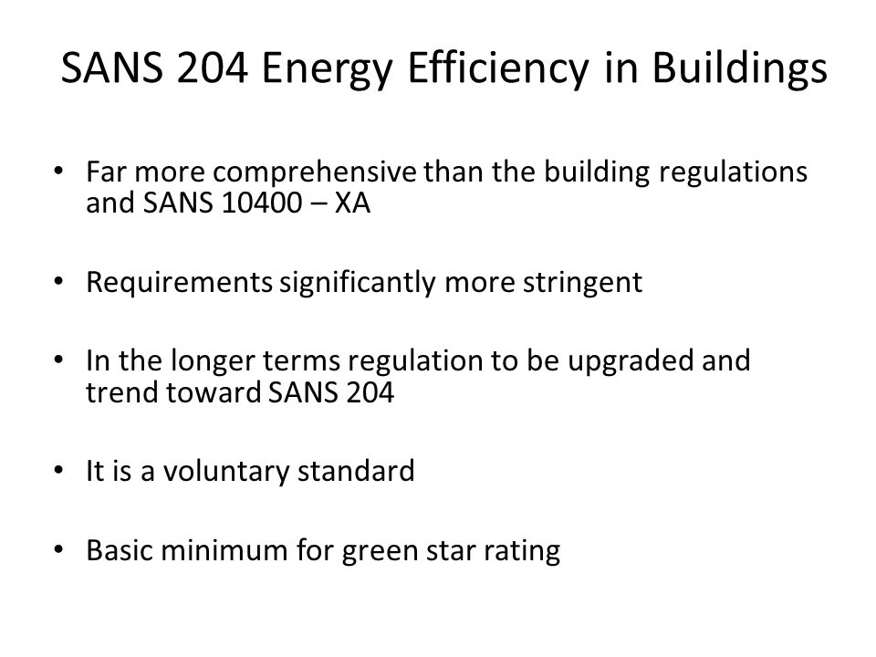 SANS 204 Energy Efficiency in Buildings