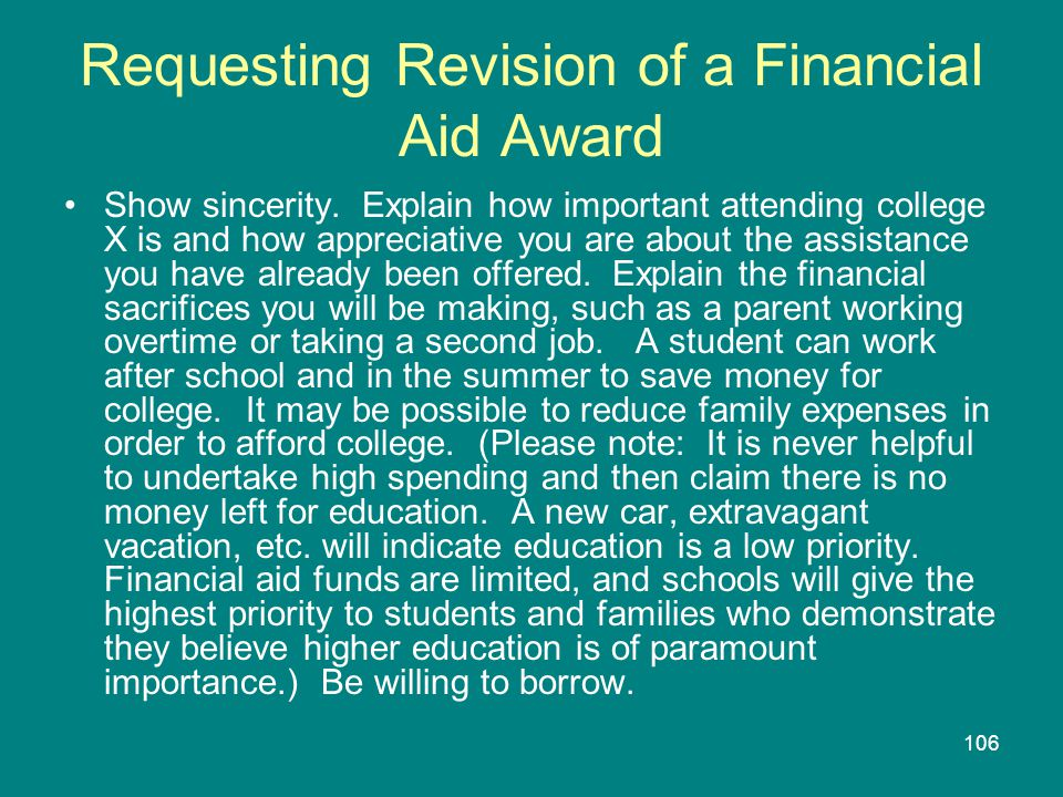 Requesting Revision of a Financial Aid Award