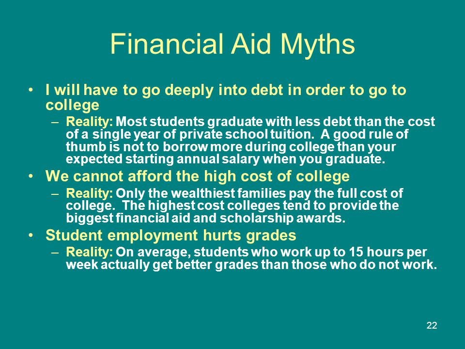Financial Aid Myths I will have to go deeply into debt in order to go to college.