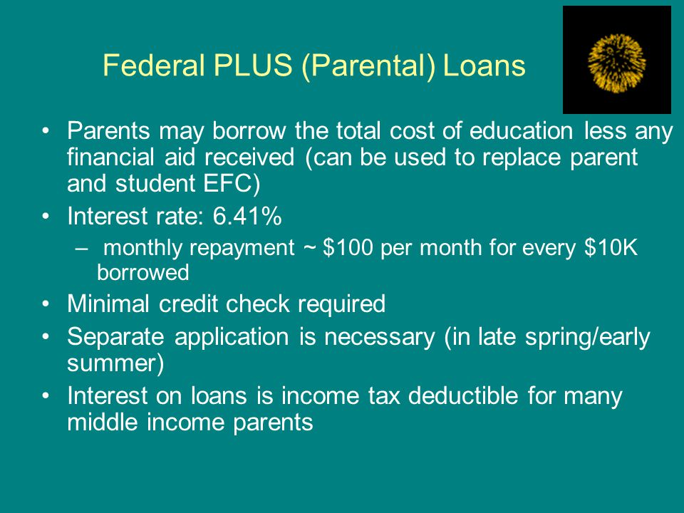 Federal PLUS (Parental) Loans