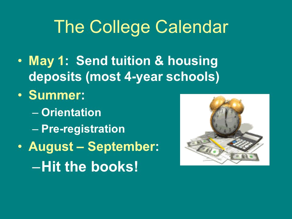The College Calendar Hit the books!