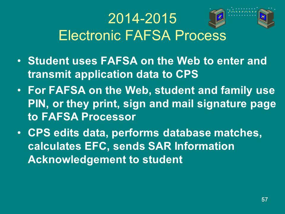 2014-2015 Electronic FAFSA Process
