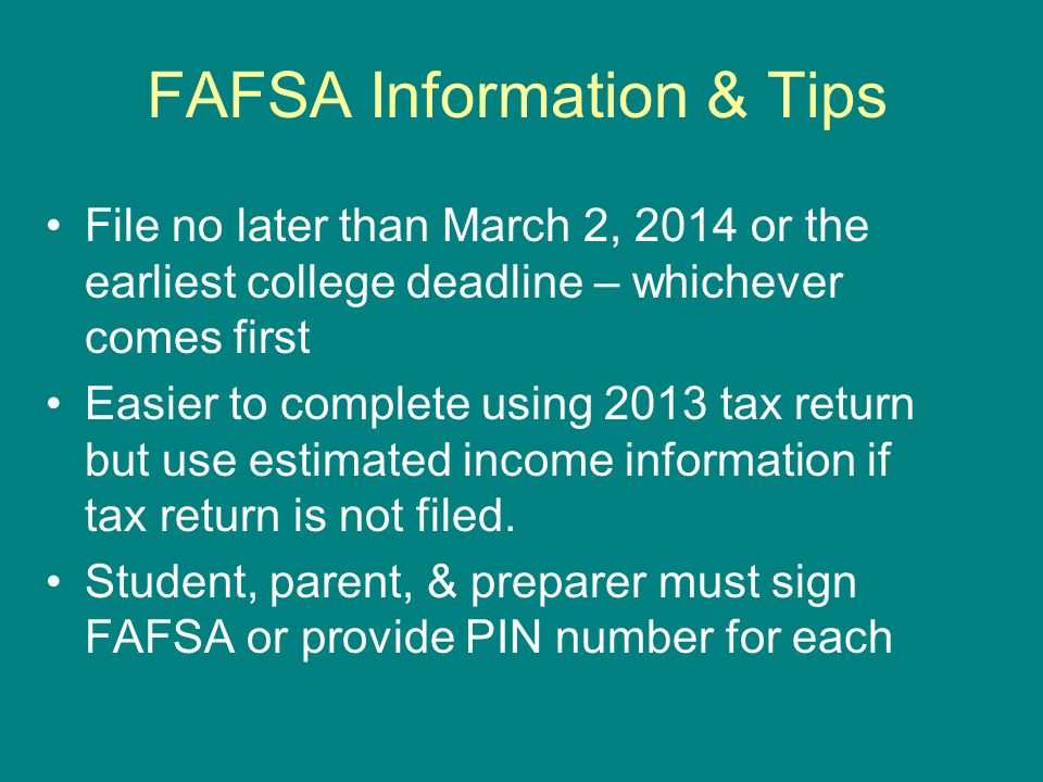 FAFSA Information & Tips