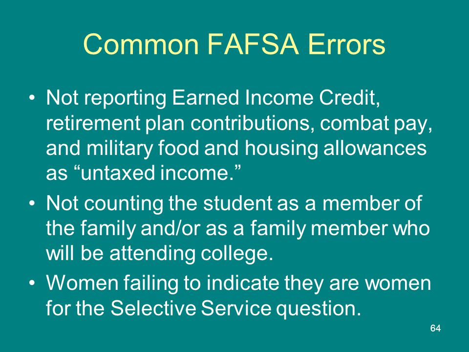 Common FAFSA Errors