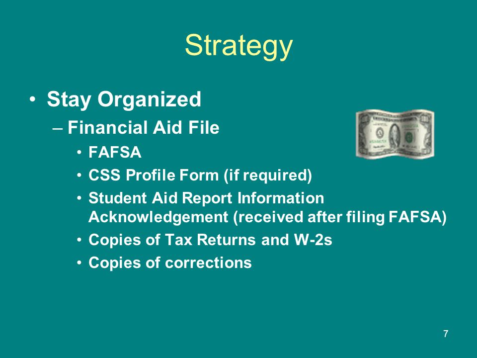 Strategy Stay Organized Financial Aid File FAFSA