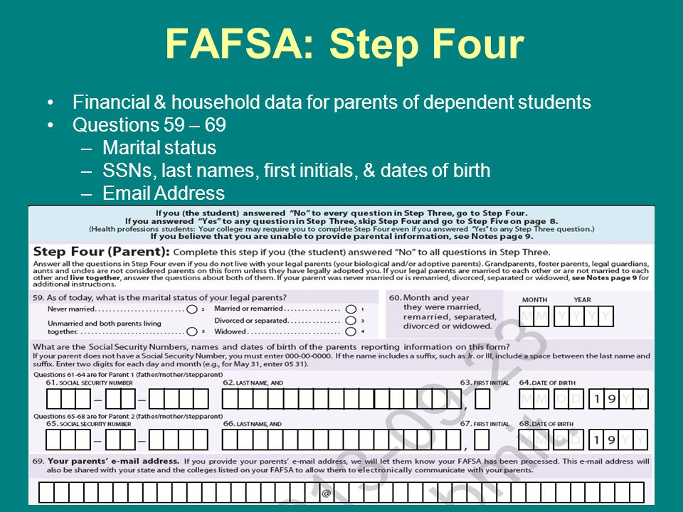 FAFSA: Step Four Financial & household data for parents of dependent students. Questions 59 – 69. Marital status.