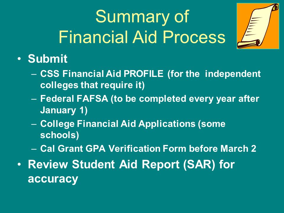 Summary of Financial Aid Process