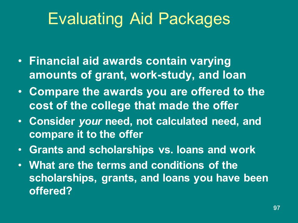 Evaluating Aid Packages