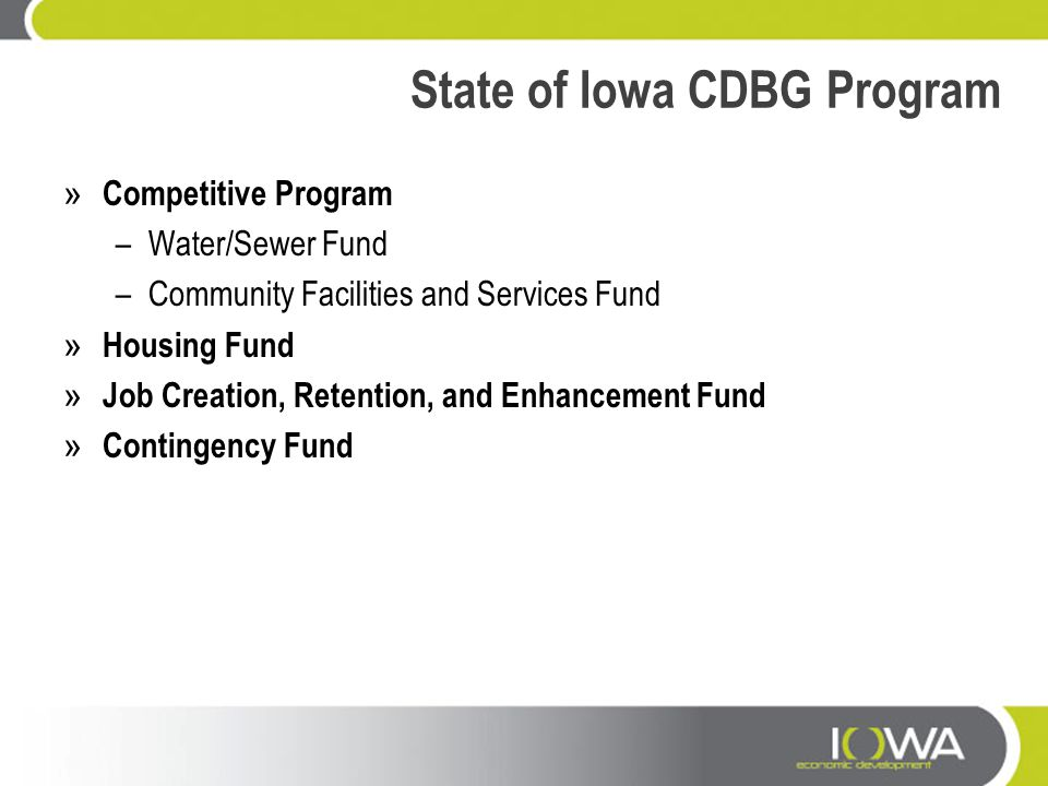 State of Iowa CDBG Program
