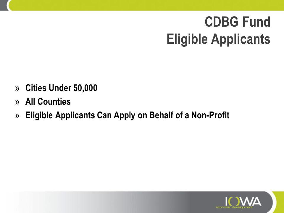 CDBG Fund Eligible Applicants