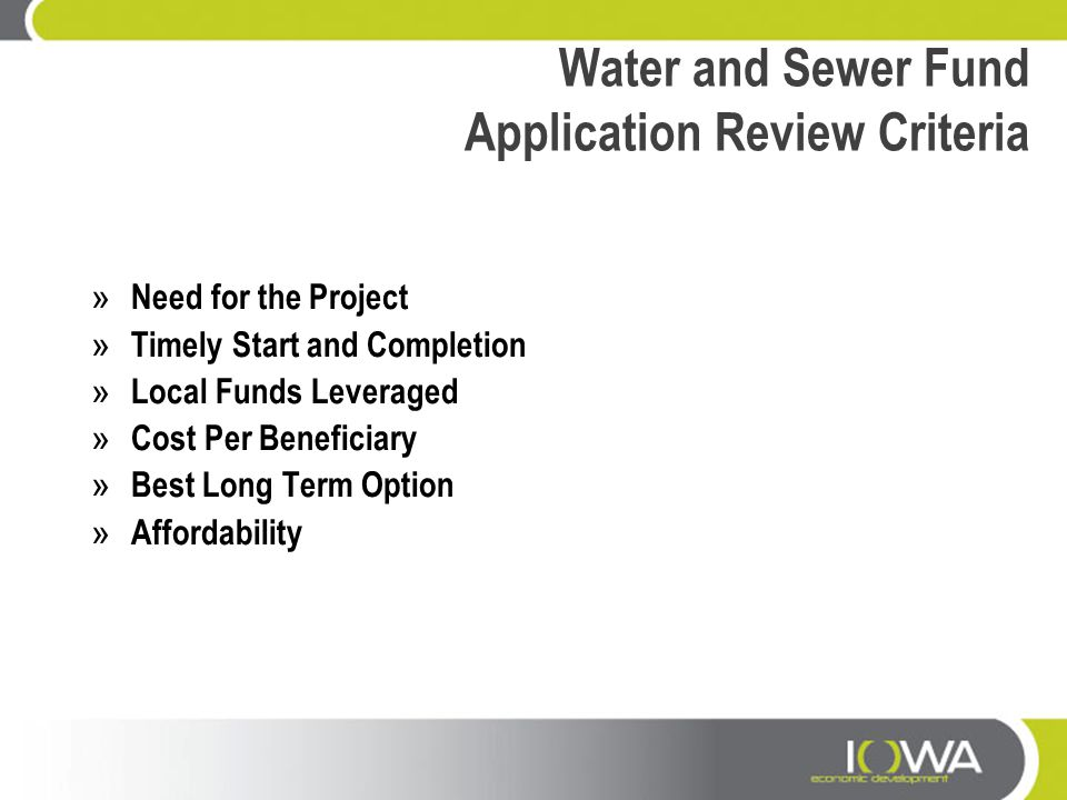 Water and Sewer Fund Application Review Criteria