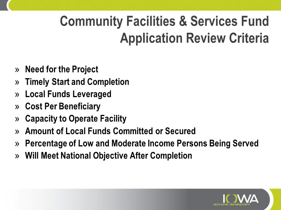 Community Facilities & Services Fund Application Review Criteria