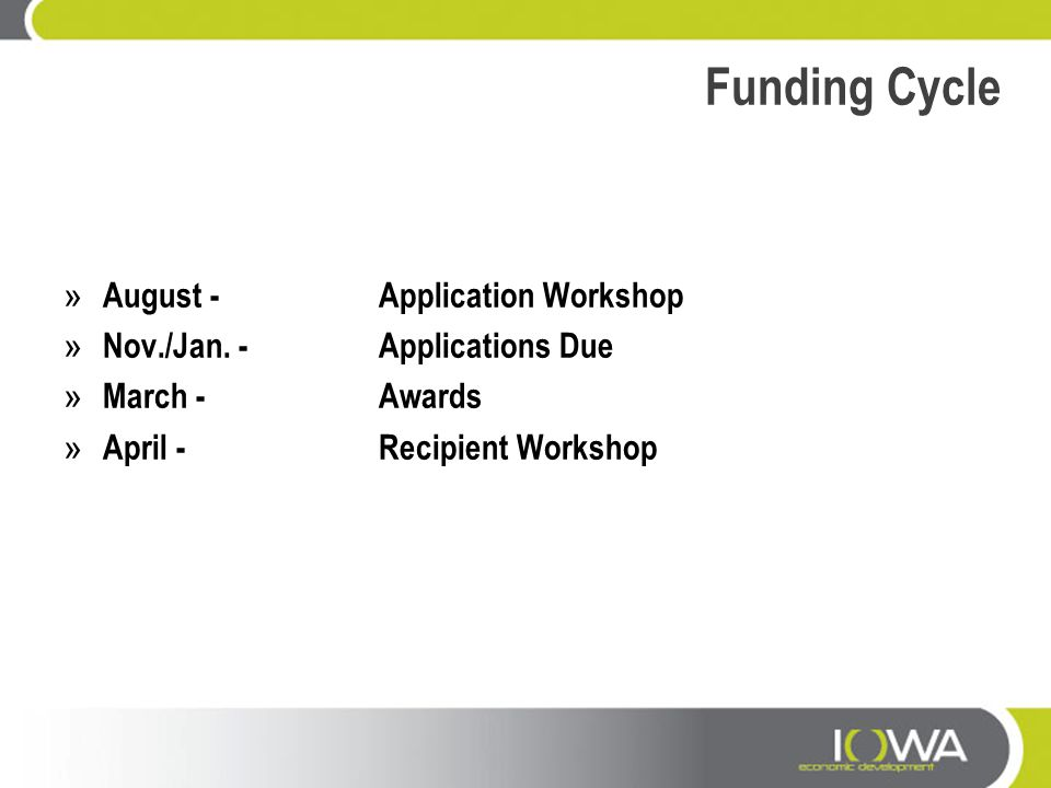 Funding Cycle August - Application Workshop
