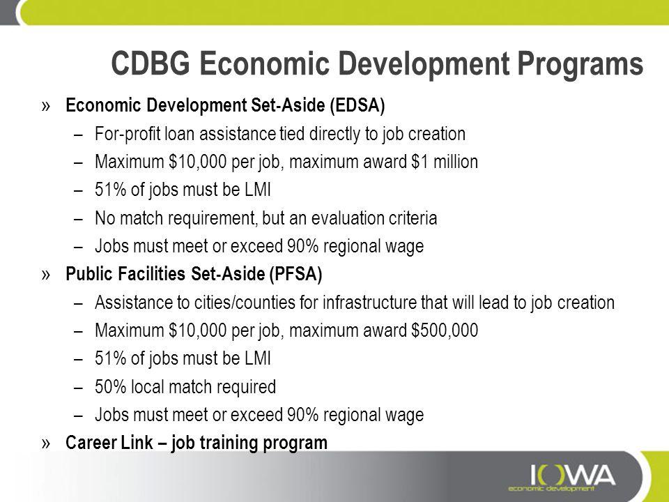 CDBG Economic Development Programs