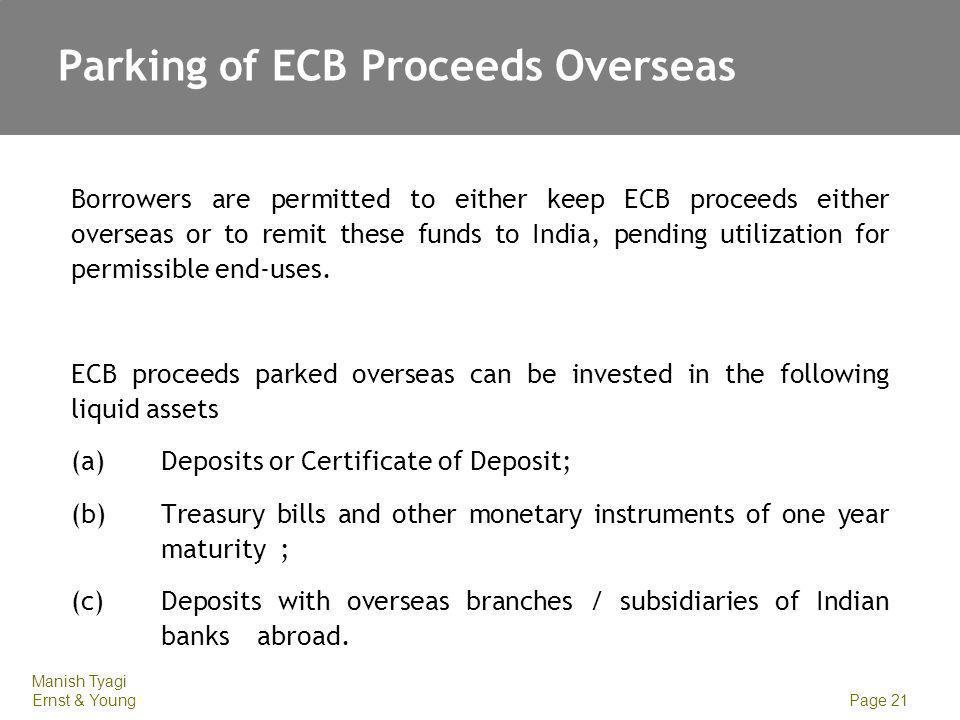 Parking of ECB Proceeds Overseas